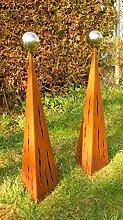 Gartendeko Rost Pärchen Raindrops Rostsäulen 100cm + 100cm