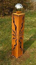 Gartendeko Rost Rostsäule 80 cm mit Glanz Edelstahlkugel
