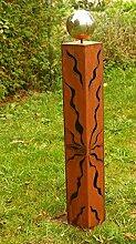 Gartendeko Rost Säule 100 cm Britt mit Edelstahlkugel*