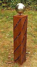 Gartendeko Rost Säule 100 cm mit Edelstahlkugel