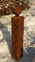 Gartendeko Rost Säule 100 cm mit Würfel*