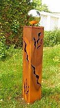 Gartendeko Rost Säule 80 cm Iris mit Edelstahlkugel