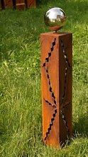 Gartendeko Rost Säule 80 cm mit Edelstahlkugel*