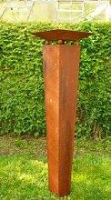 Gartendeko Rost Säule konisch 125cm mit Schale