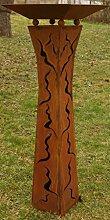 Gartendeko Rost Säule tailliert 125cm mit Risse