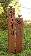 Gartendeko Rost Säulen Dreiecke mit Muster 100 +80 cm*
