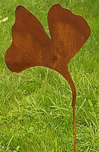 Gartendeko Rost Stecker als Ginko Blatt 100cm
