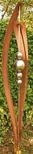 Gartendeko Rost Stecker mit 4 Edelstahlkugeln