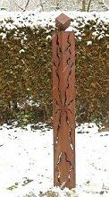 Gartendeko Rost Stehle Säule 150cm mit Rissen und Würfel