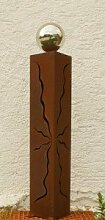 Gartendeko Rostsäule 100 cm mit Edelstahlkugel*