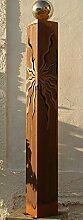 Gartendeko Rostsäule 125 cm mit Edelstahlkugel*