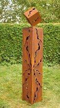 Gartendeko Rostsäule 125cm mit Risse und Würfel 2015