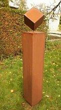 Gartendeko Rostsäule 125cm ohne Muster mit Würfel 2018*