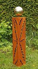 Gartendeko Rostsäule 80 cm mit Edelstahlkugel*