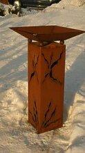 Gartendeko Rostsäule 80cm mit Risse und Schale
