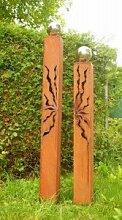 Gartendeko Rostsäulen 150cm + 125cm mit Risse und