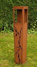 Gartendeko Rostsäulen Fackel Säule 125cm Gartenfackel Laterne