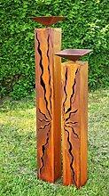 Gartendeko Rostsäulen mit Risse und Vogeltränke*