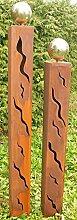 Gartendeko Rostsäulen Paar 125cm und 100cm mit
