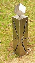 Gartendeko Säule Edelstahl 60cm mit Rissen und