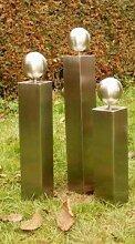 Gartendeko Säulenfamilie aus Edelstahl ohne Risse mit Edelstahlkugel*