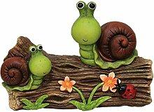 Gartendeko Schnecke groß witzige Gartendekoration bunte Garten-Figur auf Holzstamm XL für Vorgarten Hauseingang oder Terrasse (Schneck XL)