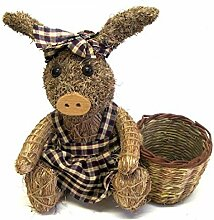Gartendeko Schwein mit Pflanzkorb braun