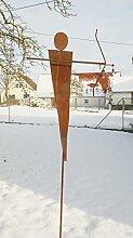 Gartendeko Skulptur aus Rost Eisen Stecker Amor 1,70 m