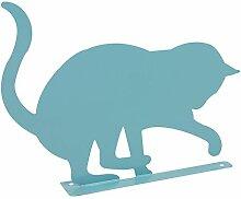Gartendeko spielende Katze aus Metall türkis H 30