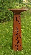 Gartendeko Stehle Schmucksäule Rost Säule konisch mit Schale