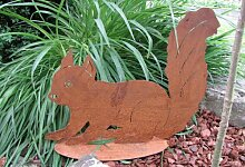 Gartendeko Tierfigur Skulptur Eichhörnchen Rostig Metall 38 cm x 35 cm