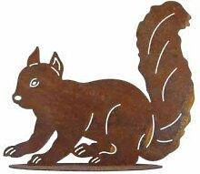 Gartendeko Tierfigur Skulptur Eichhörnchen Rostig