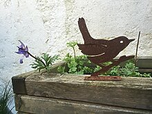 Gartendeko Vogel Piepmatz Baumtier Metall Rost Deko