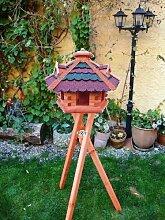 Gartendeko Vogelhaus -Holz Nistkästen & Vogelhäuser- Futterhaus Vogelstation mit ROT BLAUEM DACH mit Ständer BG60r-bGMS