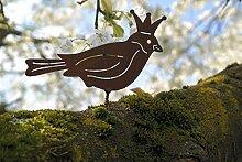 Gartendeko Vogelkönig mit Dorn Baumtier Metall Rost Deko