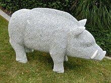 Gartendeko Wildschwein aus Granit / Naturstein 175 kg