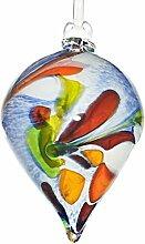 """Gartendekoration, großer Hängekegel, Gartenkegel, Gartendeko """"""""CONUS"""""""" blau, 25 cm, mundgeblasenes und handgeformtes Unikat aus Glas (GartenFlair powered by CRISTALICA) [Rosenkugel, Gartenkugel]"""