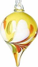 """Gartendekoration, großer Hängekegel, Gartenkegel, Gartendeko """"CONUS"""" gelb, 25 cm, mundgeblasenes und handgeformtes Unikat aus Glas (GartenFlair powered by CRISTALICA) [Rosenkugel, Gartenkugel]"""