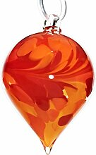 "Gartendekoration, großer Hängekegel, Gartenkegel, Gartendeko ""CONUS"" rot-orange, 25 cm, mundgeblasenes und handgeformtes Unikat aus Glas (GartenFlair powered by CRISTALICA) [Rosenkugel, Gartenkugel]"