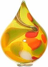 """Gartendekoration, mittlerer Stehkegel, Gartenkegel, Gartendeko """"CONE M"""" gelb, H=22 cm, mundgeblasenes und handgeformtes Glas - jedes Stück ein Unikat (GartenFlair powered by CRISTALICA)[Gartenkugel, Rosenkugel]"""