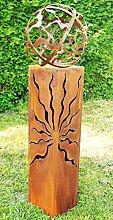 Gartendekoshop24 Rostsäulen Fackel 100cm Sanny