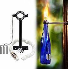 Gartenfackel,LANMU Fackeln für draußen,Fackel Lampe Aussenleuchte Dochte Halter für Öllampe Weinflasche Garten Party Outdoor DIY Deko.