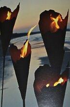 Gartenfackel mit Brenngel-Pflanzsäule-Feuersäule Metall mit Ederost Höhe 150 cm - Gartenstecker mit Stab und Feuersäule + Brenngel- nutzbar als Feuer- oder Pflanztüte-- sehr stabile Ausführung, gute Qualität, f
