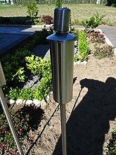 Gartenfackel Ölfackel Edelstahl Fackeln XXL 120 cm rostfrei wetterfest - Garten Fackel in Premium Qualität, mit Metallerdspieß