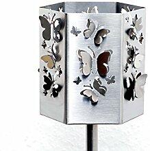 Gartenfackel Schmetterlinge aus Edelstahl