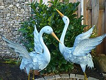 Gartenfigur 2er Set Kranich Metall Bunt Tier Vogel