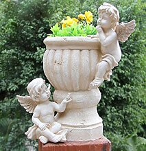 Gartenfigur 34 cm Hoch Engel NF50081 Gartendeko Pflanztopf Blumentopf Blumenschale