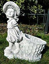Gartenfigur Beton Figur Mädchen mit Pflanztopf H