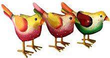 Gartenfigur bunter Vogel aus Metall 3 verschiedene Farben zur Auswahl 20x9x18cm Handarbeit Gartendeko Metallfigur Gartendekoration Gartenfiguren (Auswahl Vogel grün mit gelbem Schnabel)
