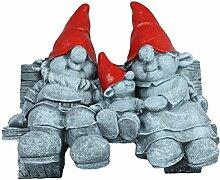 Gartenfigur Dekofigur Wichtelfamilie auf Bank rot Zwerg Dekoration Gartendeko Wichtel Beton Optik